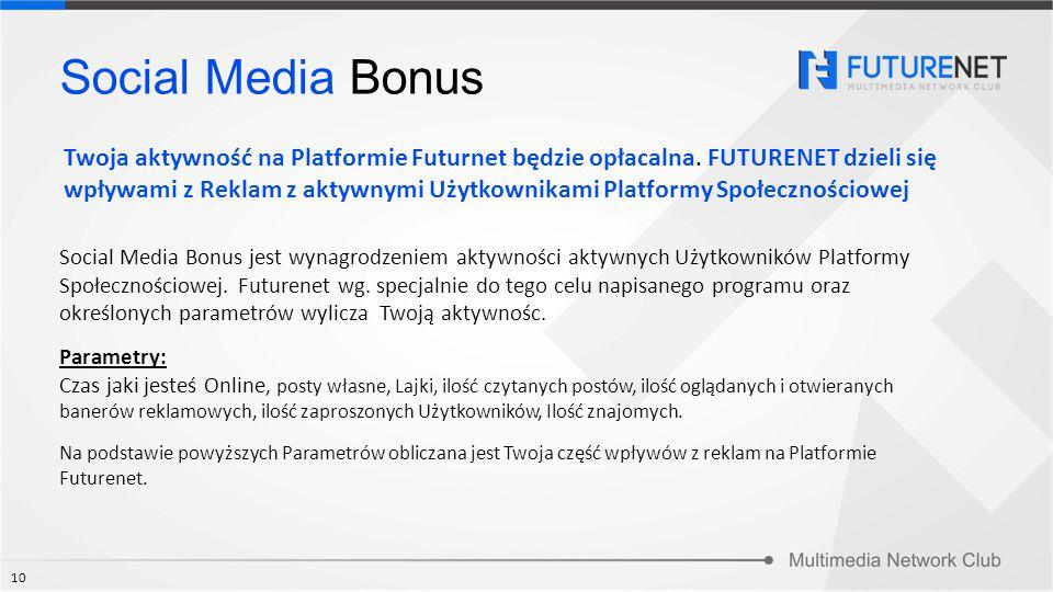 Social Media Bonus jest wynagrodzeniem aktywności aktywnych Użytkowników Platformy Społecznościowej. Futurenet wg. specjalnie do tego celu napisanego