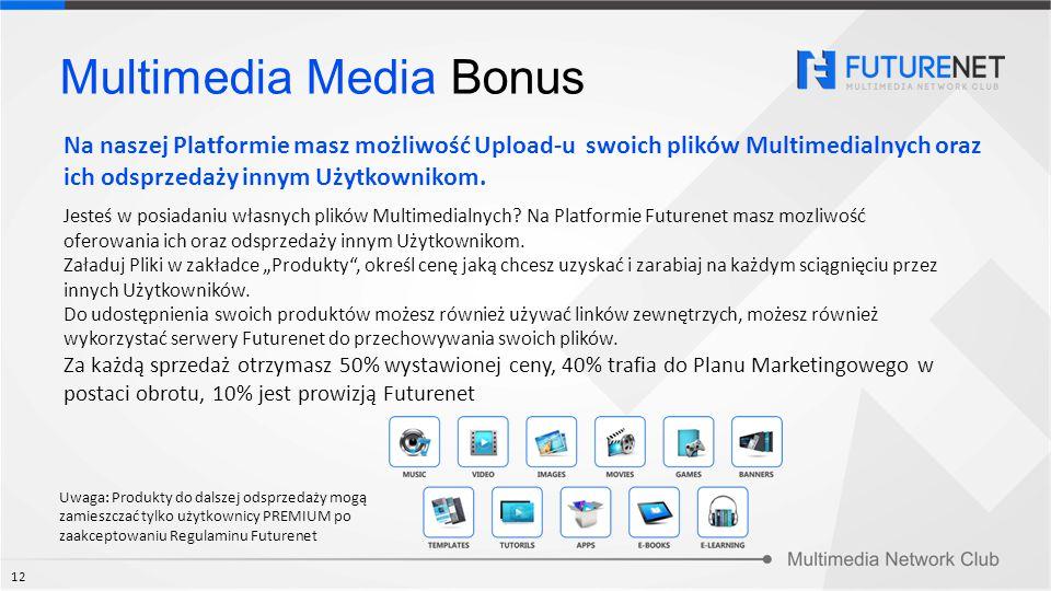 Multimedia Media Bonus Jesteś w posiadaniu własnych plików Multimedialnych? Na Platformie Futurenet masz mozliwość oferowania ich oraz odsprzedaży inn