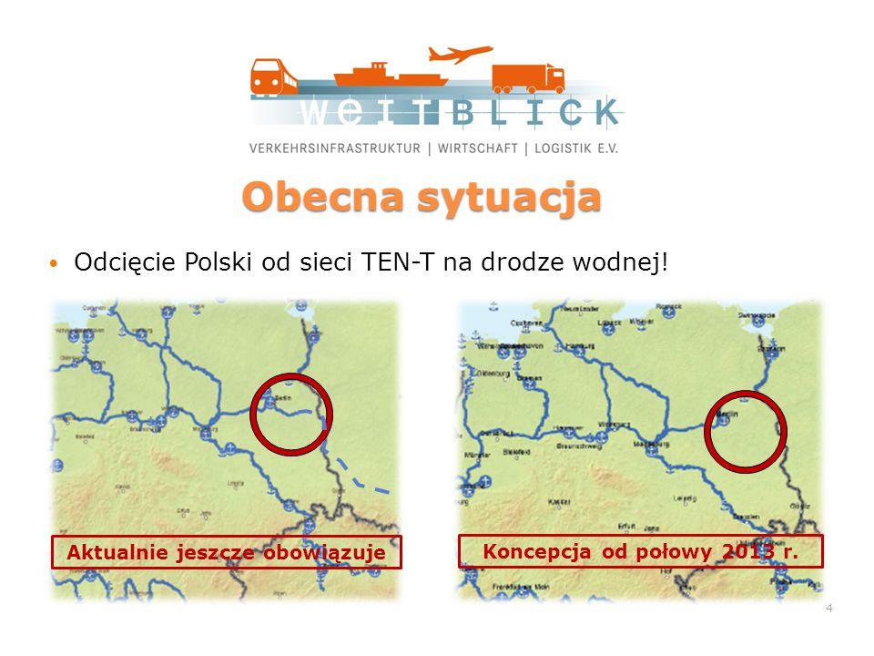 Obecna sytuacja Odcięcie Polski od sieci TEN-T na drodze wodnej.