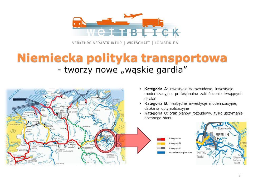 """Niemiecka polityka transportowa Niemiecka polityka transportowa - tworzy nowe """"wąskie gardła Kategoria A Kategoria B Kategoria C Pozostałe drogi wodne Kategoria A: inwestycje w rozbudowę, inwestycje modernizacyjne, profesjonalne zakończenie trwających działań Kategoria B: niezbędne inwestycje modernizacyjne, działania optymalizacyjne Kategoria C: brak planów rozbudowy, tylko utrzymanie obecnego stanu 6"""