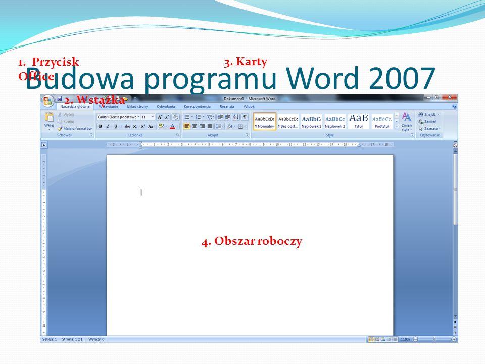 Budowa programu Word 2007 1. Przycisk Office 3. Karty 2. Wstążka 4. Obszar roboczy