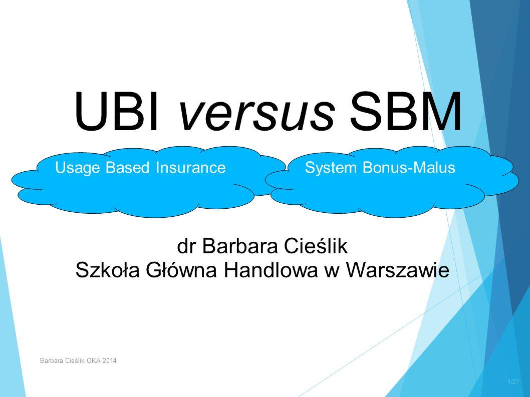 UBI versus SBM dr Barbara Cieślik Szkoła Główna Handlowa w Warszawie Usage Based InsuranceSystem Bonus-Malus 1/27 Barbara Cieślik OKA 2014