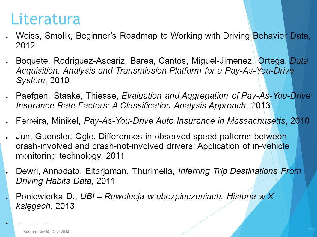 ● Weiss, Smolik, Beginner's Roadmap to Working with Driving Behavior Data, 2012 ● Boquete, Rodriguez-Ascariz, Barea, Cantos, Miguel-Jimenez, Ortega, D