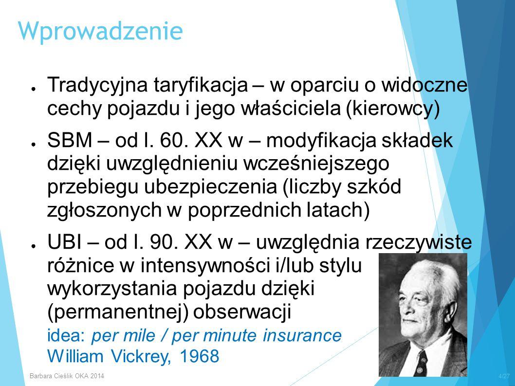 UBI Telematics Insurance PATP VMT DBD/ DHD GPS PAYD ® … Prepaid Insurance PAYS PHYDMHYD Wprowadzenie 5/27 Barbara Cieślik OKA 2014