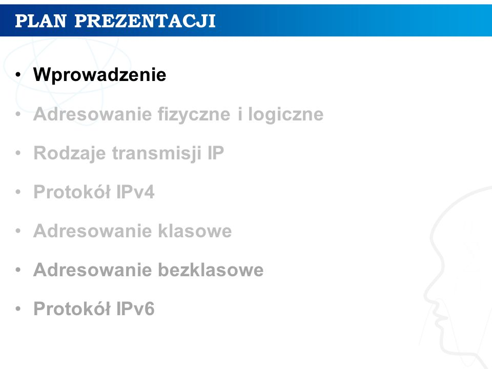 ORGANIZACJE ZWIĄZANE Z ADRESOWANIEM IP IETF (The Internet Engineering Task Force) InterNIC (Internet Network Information Center) IANA (Internet Assigned Numbers Authority) ICANN (The Internet Corporation for Assigned Names and Numbers)