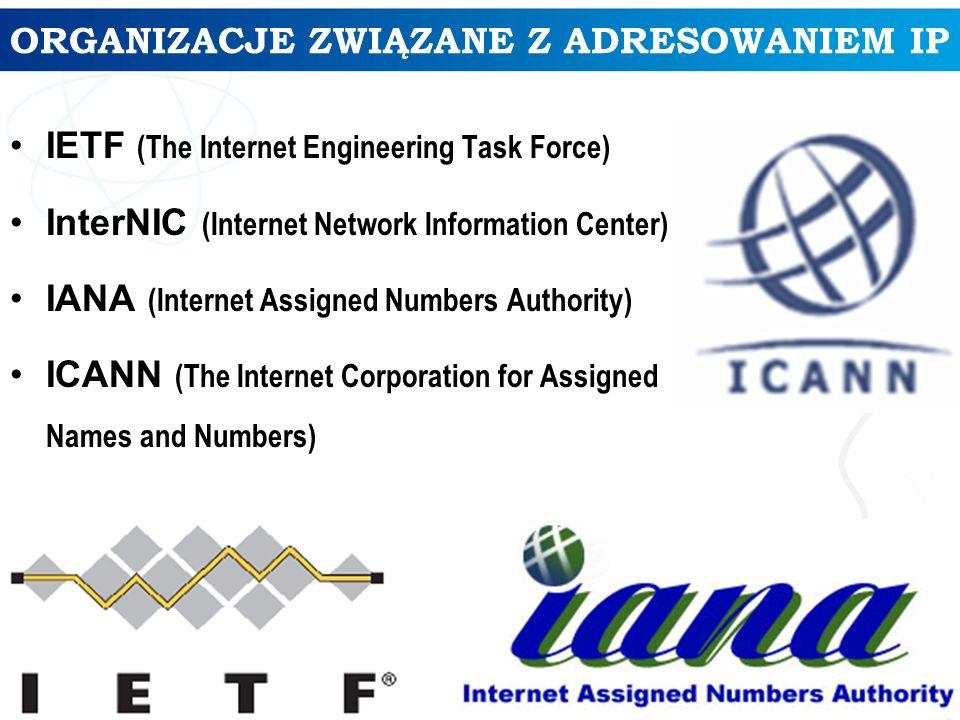 ALOKACJA ADRESÓW IPv4 Procentowy udział adresów IP w poszczególnych klasach: – Klasa A – 2 147 483 648 adresów IP – Klasa B – 1 073 741 824 adresów IP – Klasa C – 536 870 912 adresów IP – Klasa D i E – 536 870 912 adresów IP