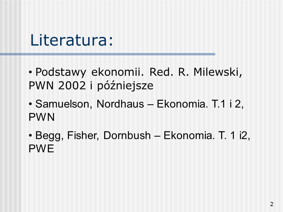 2 Literatura: Podstawy ekonomii.Red. R.