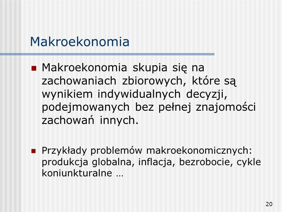 20 Makroekonomia Makroekonomia skupia się na zachowaniach zbiorowych, które są wynikiem indywidualnych decyzji, podejmowanych bez pełnej znajomości zachowań innych.