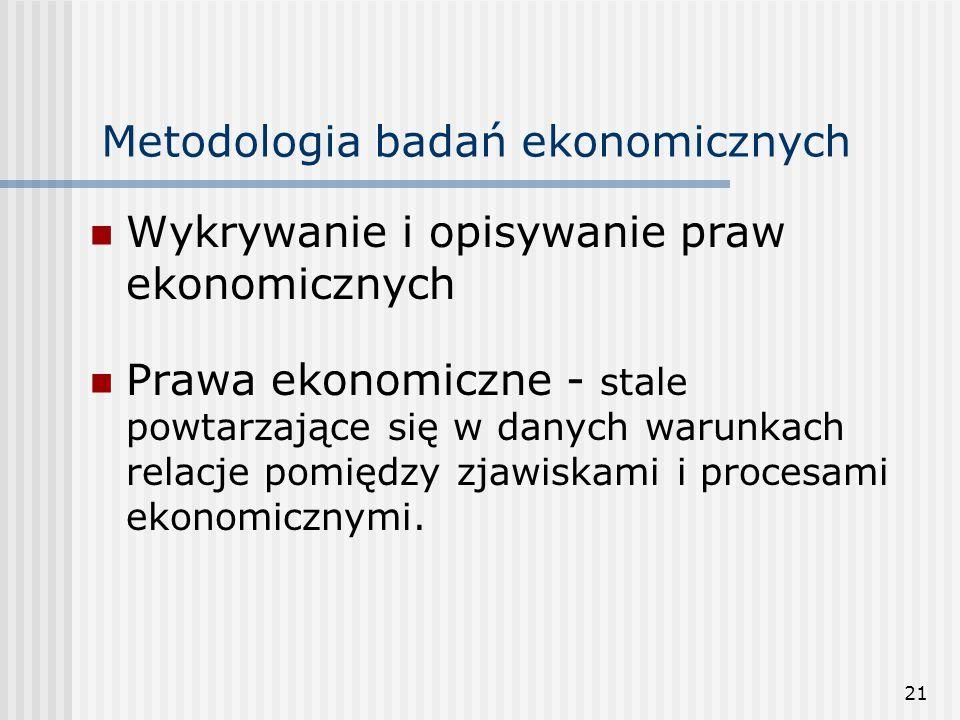21 Metodologia badań ekonomicznych Wykrywanie i opisywanie praw ekonomicznych Prawa ekonomiczne - stale powtarzające się w danych warunkach relacje pomiędzy zjawiskami i procesami ekonomicznymi.