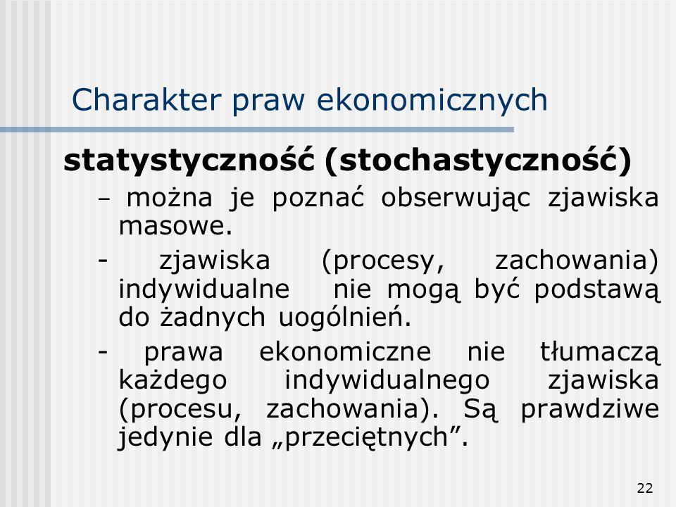 22 Charakter praw ekonomicznych statystyczność (stochastyczność) – można je poznać obserwując zjawiska masowe.