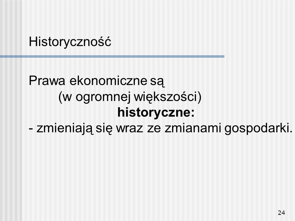 24 Prawa ekonomiczne są (w ogromnej większości) historyczne: - zmieniają się wraz ze zmianami gospodarki.