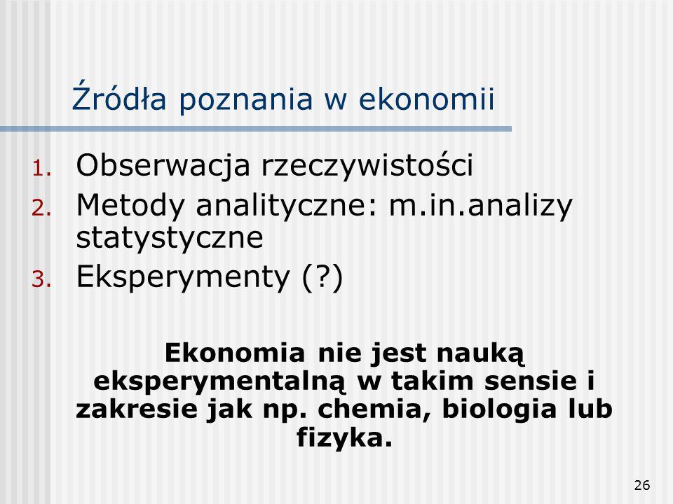 26 Źródła poznania w ekonomii 1.Obserwacja rzeczywistości 2.