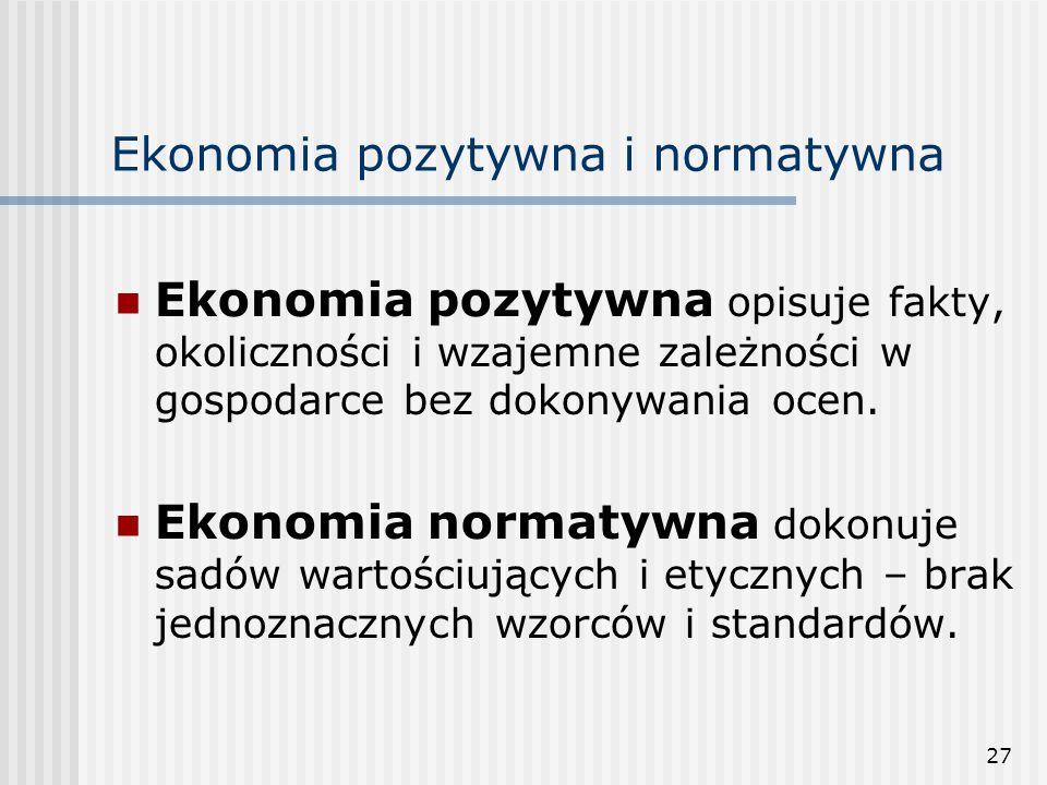 27 Ekonomia pozytywna i normatywna Ekonomia pozytywna opisuje fakty, okoliczności i wzajemne zależności w gospodarce bez dokonywania ocen.