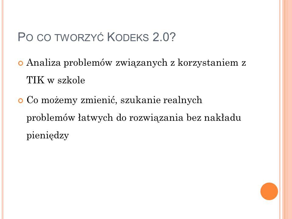 P O CO TWORZYĆ K ODEKS 2.0.