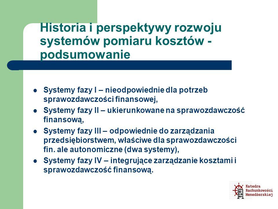 Historia i perspektywy rozwoju systemów pomiaru kosztów - podsumowanie Systemy fazy I – nieodpowiednie dla potrzeb sprawozdawczości finansowej, System