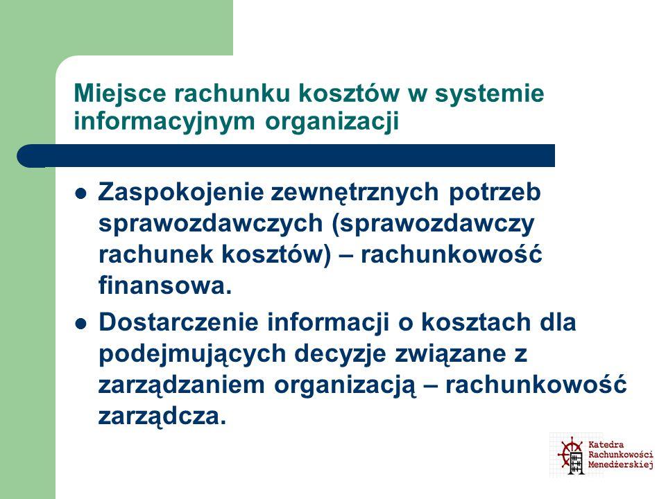Miejsce rachunku kosztów w systemie informacyjnym organizacji Zaspokojenie zewnętrznych potrzeb sprawozdawczych (sprawozdawczy rachunek kosztów) – rac