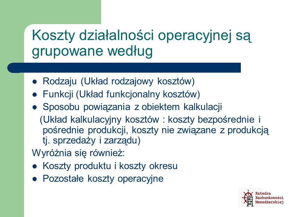Koszty działalności operacyjnej są grupowane według Rodzaju (Układ rodzajowy kosztów) Funkcji (Układ funkcjonalny kosztów) Sposobu powiązania z obiekt