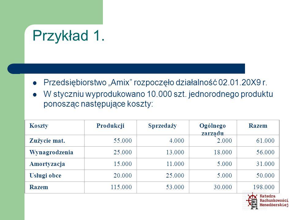 """Przykład 1. Przedsiębiorstwo """"Amix"""" rozpoczęło działalność 02.01.20X9 r. W styczniu wyprodukowano 10.000 szt. jednorodnego produktu ponosząc następują"""