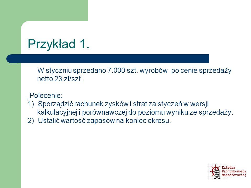 Przykład 1. W styczniu sprzedano 7.000 szt. wyrobów po cenie sprzedaży netto 23 zł/szt. Polecenie: 1) Sporządzić rachunek zysków i strat za styczeń w