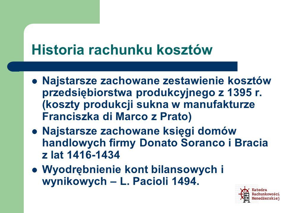 Historia rachunku kosztów Najstarsze zachowane zestawienie kosztów przedsiębiorstwa produkcyjnego z 1395 r. (koszty produkcji sukna w manufakturze Fra