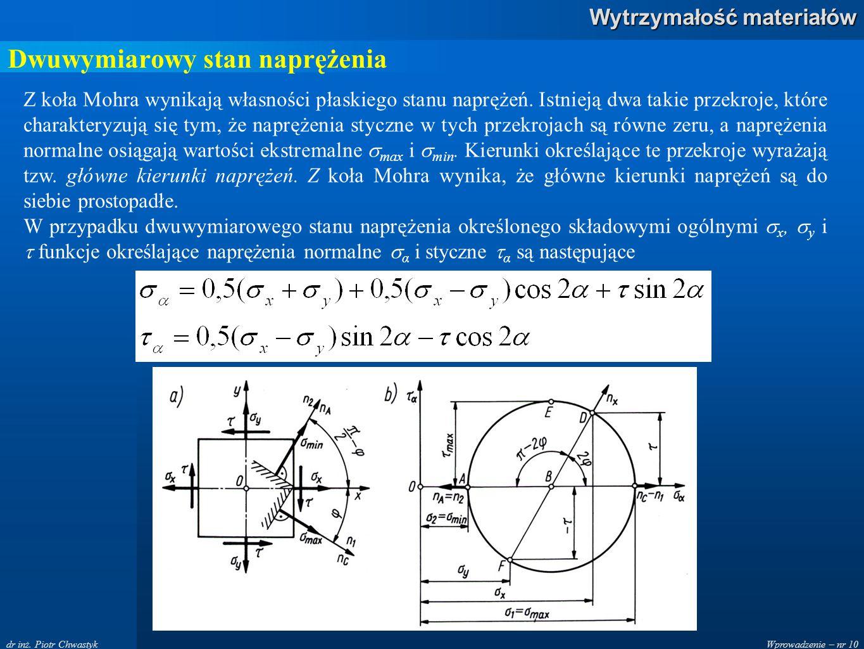 Wprowadzenie – nr 10 Wytrzymałość materiałów dr inż. Piotr Chwastyk Dwuwymiarowy stan naprężenia Z koła Mohra wynikają własności płaskiego stanu naprę