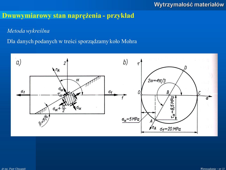 Wprowadzenie – nr 13 Wytrzymałość materiałów dr inż. Piotr Chwastyk Dwuwymiarowy stan naprężenia - przykład Metoda wykreślna Dla danych podanych w tre