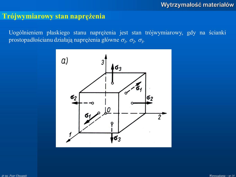 Wprowadzenie – nr 14 Wytrzymałość materiałów dr inż. Piotr Chwastyk Trójwymiarowy stan naprężenia Uogólnieniem płaskiego stanu naprężenia jest stan tr