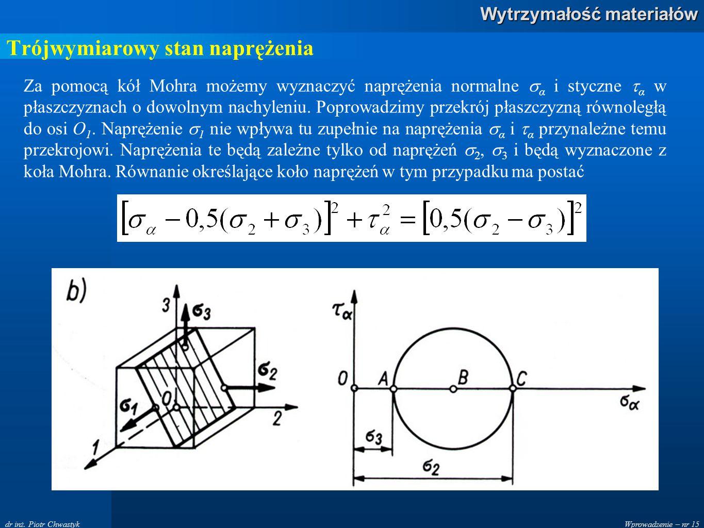 Wprowadzenie – nr 15 Wytrzymałość materiałów dr inż. Piotr Chwastyk Za pomocą kół Mohra możemy wyznaczyć naprężenia normalne  α i styczne  α w płasz
