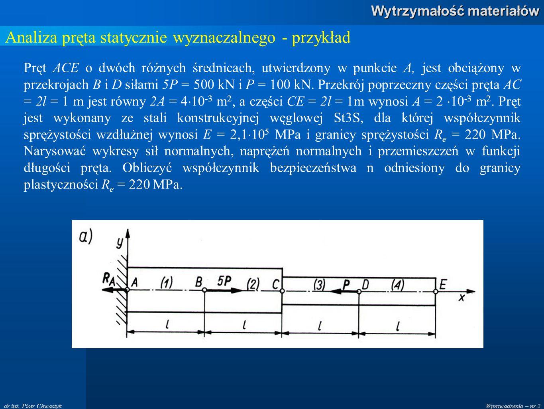 Wprowadzenie – nr 2 Wytrzymałość materiałów dr inż. Piotr Chwastyk Analiza pręta statycznie wyznaczalnego - przykład Pręt ACE o dwóch różnych średnica