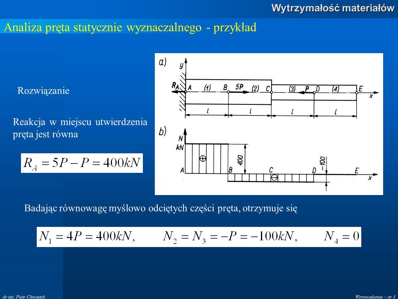 Wprowadzenie – nr 3 Wytrzymałość materiałów dr inż. Piotr Chwastyk Analiza pręta statycznie wyznaczalnego - przykład Rozwiązanie Reakcja w miejscu utw