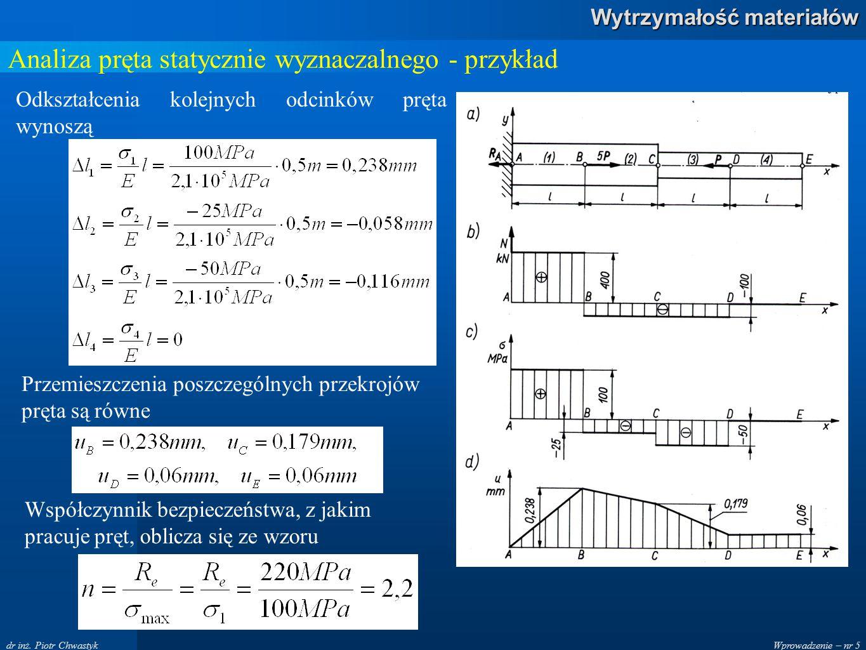 Wprowadzenie – nr 5 Wytrzymałość materiałów dr inż. Piotr Chwastyk Analiza pręta statycznie wyznaczalnego - przykład Odkształcenia kolejnych odcinków