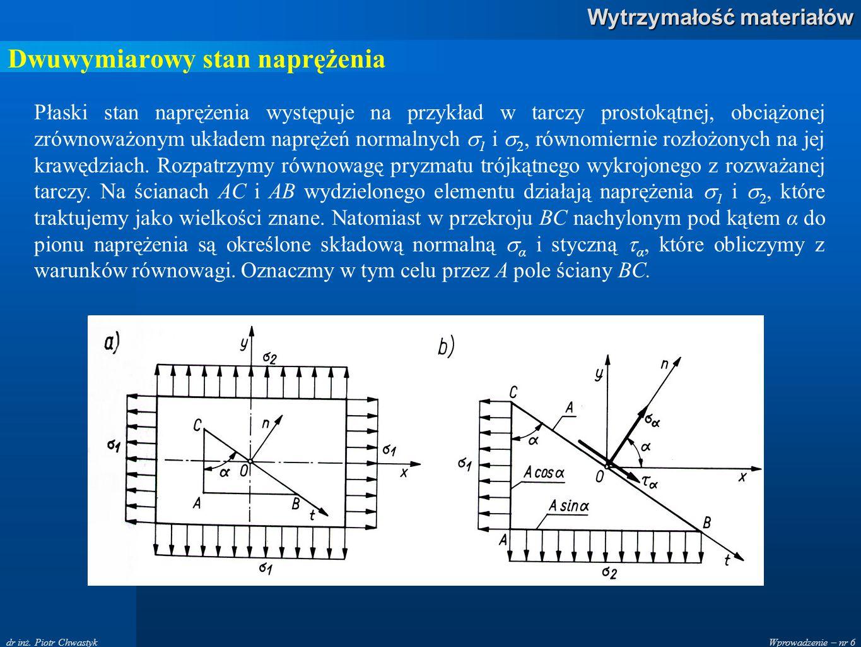Wprowadzenie – nr 6 Wytrzymałość materiałów dr inż. Piotr Chwastyk Dwuwymiarowy stan naprężenia Płaski stan naprężenia występuje na przykład w tarczy