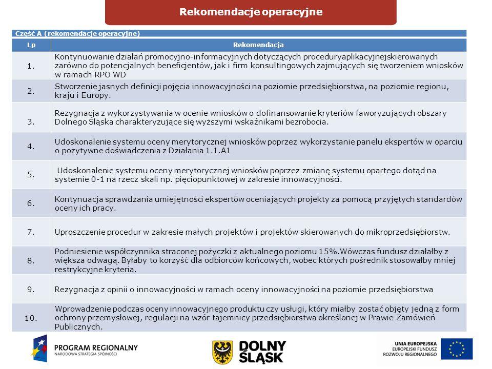 Rekomendacje operacyjne DIAGNOZAOCENA Część A (rekomendacje operacyjne) LpRekomendacja 1. Kontynuowanie działań promocyjno-informacyjnych dotyczących