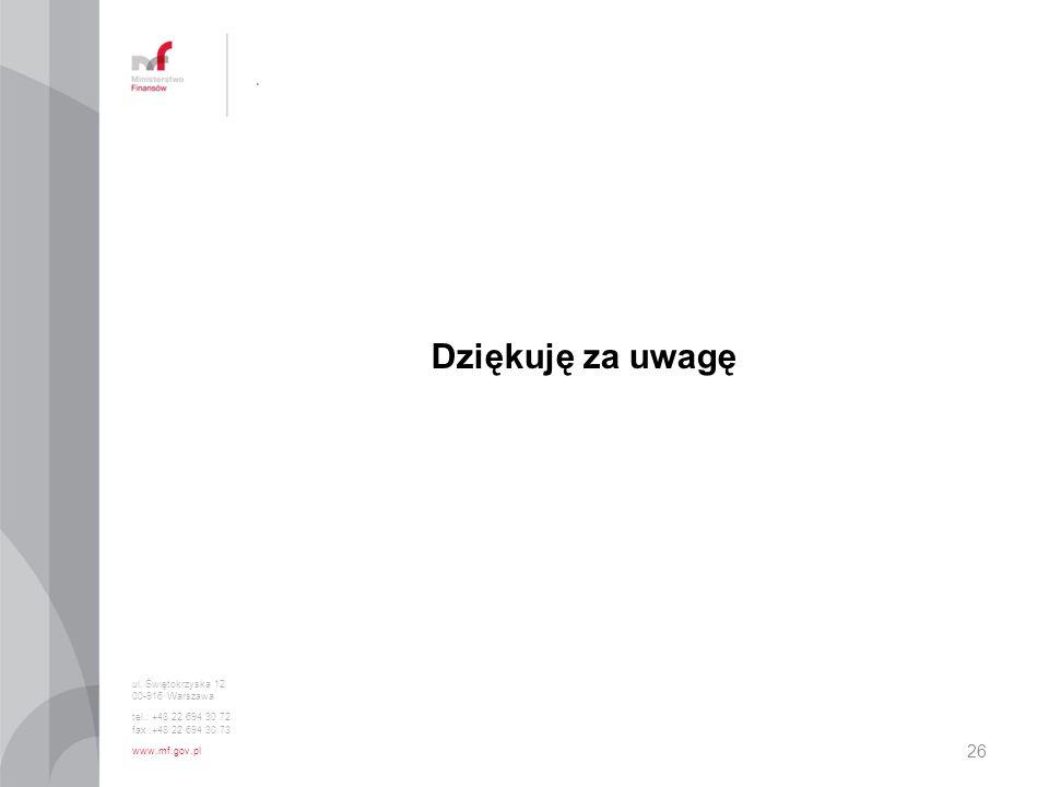 . Dziękuję za uwagę ul. Świętokrzyska 12 00-916 Warszawa tel.: +48 22 694 30 72 fax :+48 22 694 30 73 www.mf.gov.pl 26