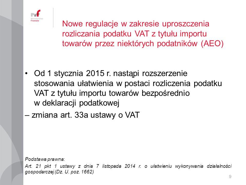 Nowe regulacje w zakresie uproszczenia rozliczania podatku VAT z tytułu importu towarów przez niektórych podatników (AEO) Od 1 stycznia 2015 r.