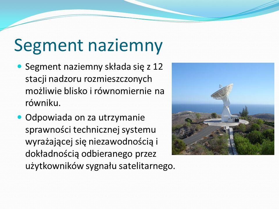 Segment naziemny Segment naziemny składa się z 12 stacji nadzoru rozmieszczonych możliwie blisko i równomiernie na równiku. Odpowiada on za utrzymanie
