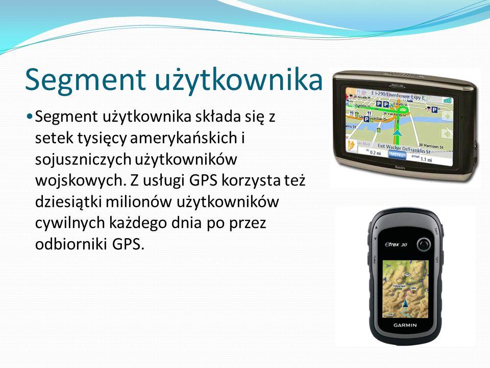 Segment użytkownika Segment użytkownika składa się z setek tysięcy amerykańskich i sojuszniczych użytkowników wojskowych. Z usługi GPS korzysta też dz