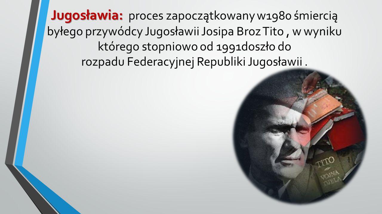 Jugosławia: Jugosławia: proces zapoczątkowany w1980 śmiercią byłego przywódcy Jugosławii Josipa Broz Tito, w wyniku którego stopniowo od 1991doszło do