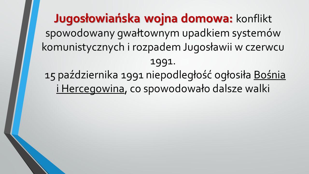 Jugosłowiańska wojna domowa: Jugosłowiańska wojna domowa: konflikt spowodowany gwałtownym upadkiem systemów komunistycznych i rozpadem Jugosławii w cz