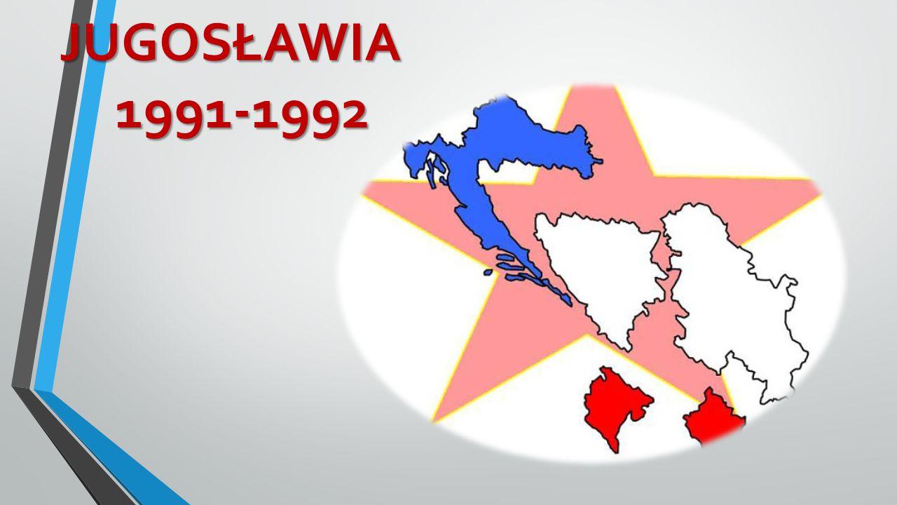 Jugosławia: Jugosławia: proces zapoczątkowany w1980 śmiercią byłego przywódcy Jugosławii Josipa Broz Tito, w wyniku którego stopniowo od 1991doszło do rozpadu Federacyjnej Republiki Jugosławii.