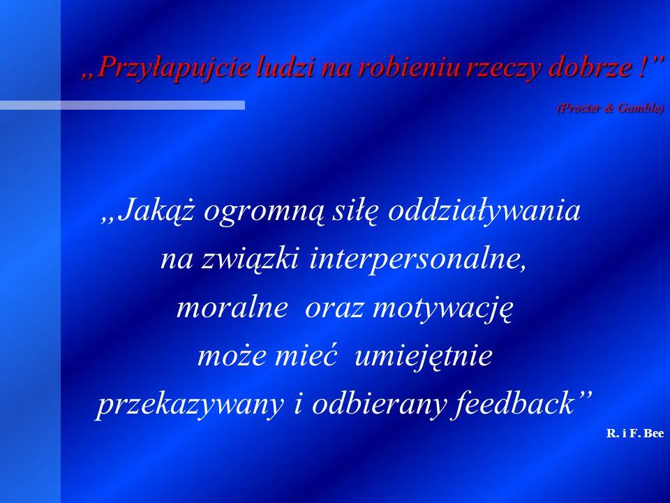C.d. Zasady dawania feedbacku 7. Mów najpierw to co dobre, potem to co nie prowadziło do celu.