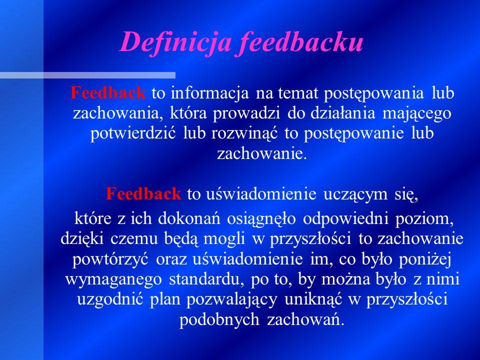 """FEEDBACK - ang.; feed """"karmić, zasilać ;back """" z powrotem SPRZĘŻENIE ZWROTNE"""