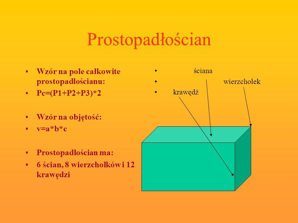 Prostopadłościan Wzór na pole całkowite prostopadłościanu: Pc=(P1+P2+P3)*2 Wzór na objętość: v=a*b*c Prostopadłościan ma: 6 ścian, 8 wierzcholków i 12