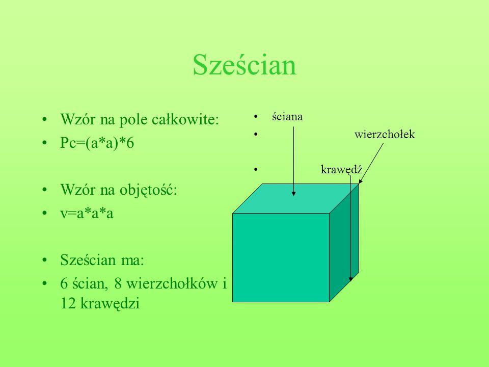 Sześcian Wzór na pole całkowite: Pc=(a*a)*6 Wzór na objętość: v=a*a*a Sześcian ma: 6 ścian, 8 wierzchołków i 12 krawędzi ściana wierzchołek krawędź