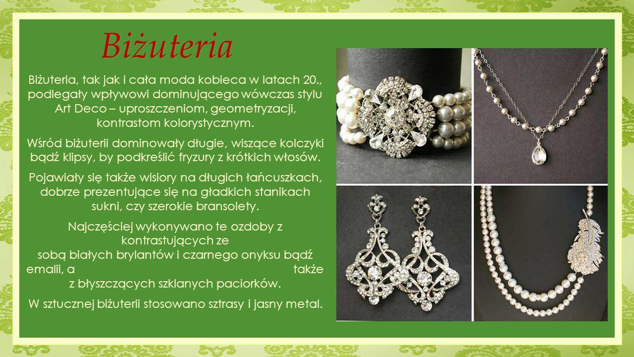Biżuteria Biżuteria, tak jak i cała moda kobieca w latach 20., podlegały wpływowi dominującego wówczas stylu Art Deco – uproszczeniom, geometryzacji, kontrastom kolorystycznym.