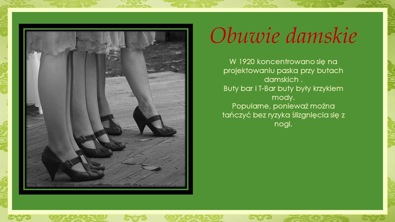 W 1920 koncentrowano się na projektowaniu paska przy butach damskich. Buty bar i T-Bar buty były krzykiem mody. Popularne, ponieważ można tańczyć bez