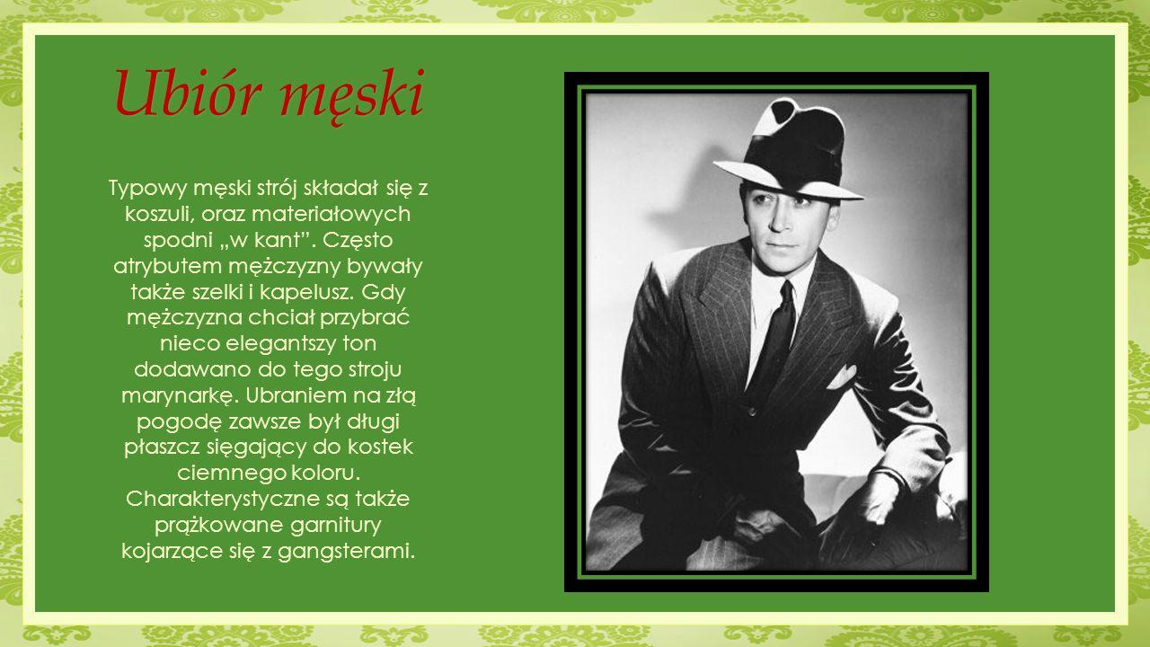 """Ubiór męski Typowy męski strój składał się z koszuli, oraz materiałowych spodni """"w kant"""". Często atrybutem mężczyzny bywały także szelki i kapelusz. G"""