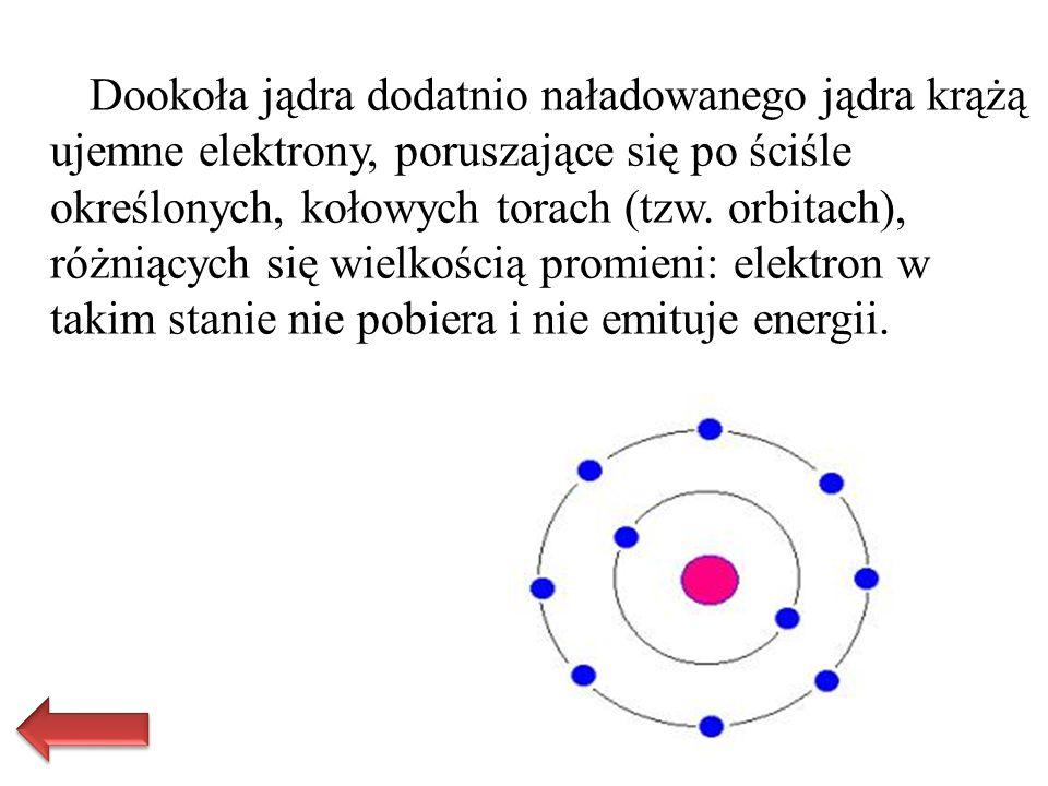 Dookoła jądra dodatnio naładowanego jądra krążą ujemne elektrony, poruszające się po ściśle określonych, kołowych torach (tzw. orbitach), różniących s