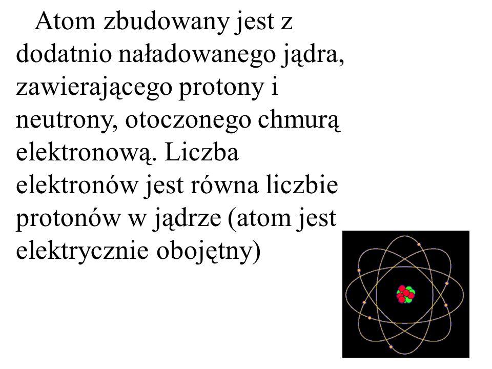 Atom zbudowany jest z dodatnio naładowanego jądra, zawierającego protony i neutrony, otoczonego chmurą elektronową. Liczba elektronów jest równa liczb
