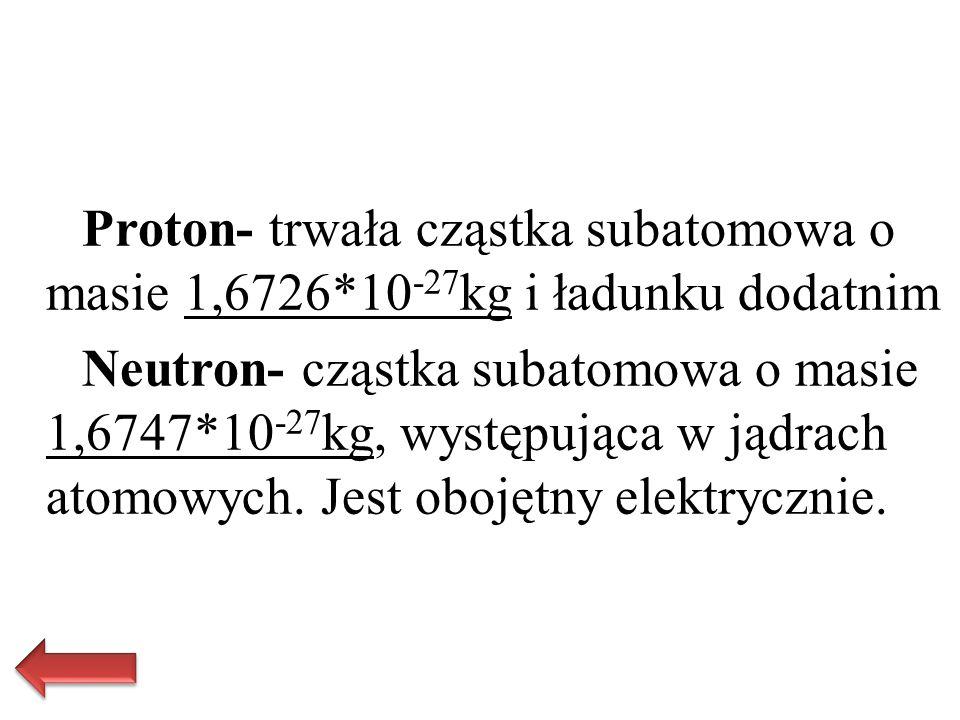 Proton- trwała cząstka subatomowa o masie 1,6726*10 -27 kg i ładunku dodatnim Neutron- cząstka subatomowa o masie 1,6747*10 -27 kg, występująca w jądr